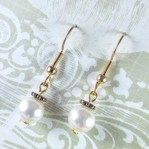 Ivory Pearl Gold Earrings